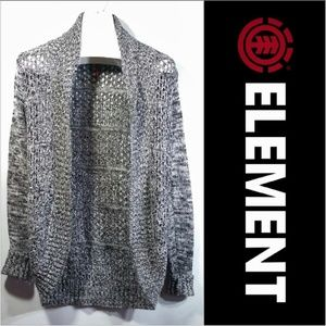 Open Front Knit Cardigan Lattice Back Heathered BW